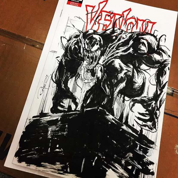 Black And White Venom Sketch Cover by Armando Ramirez