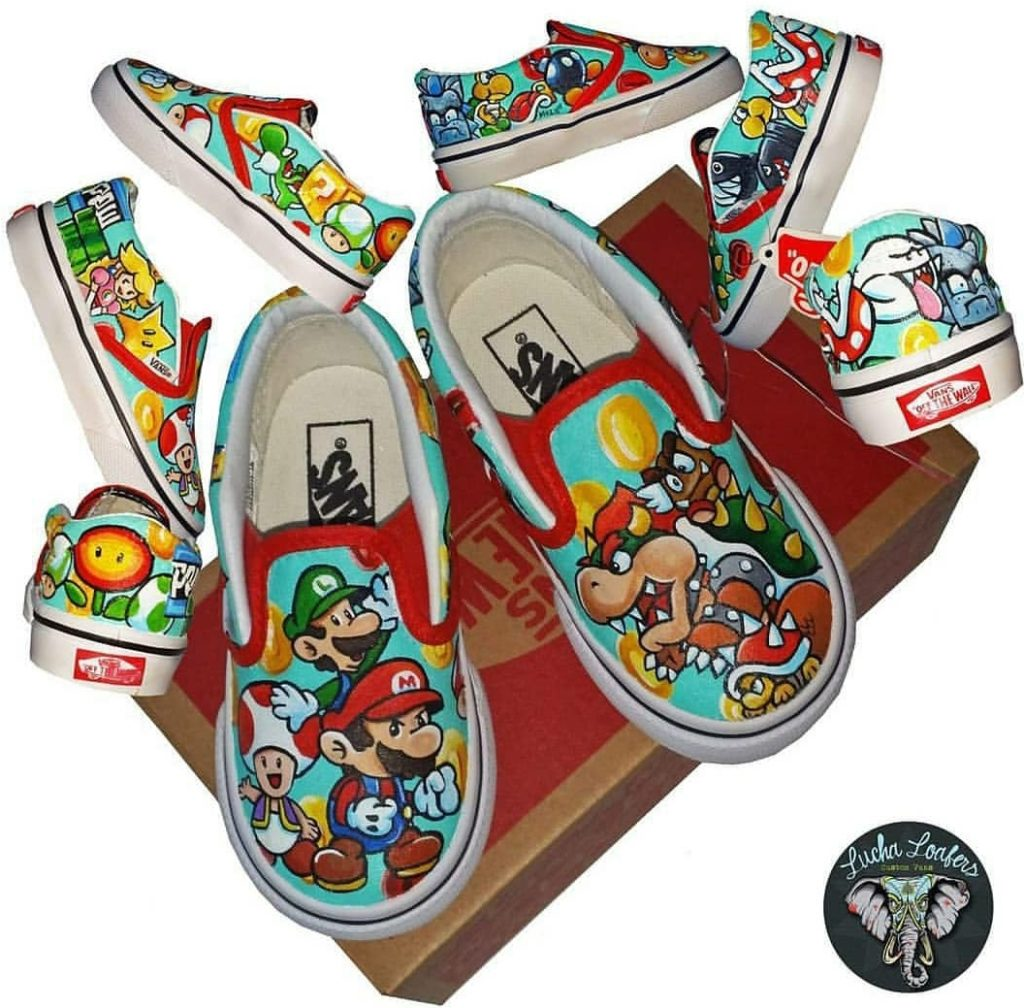 Super Mario bros shoe art