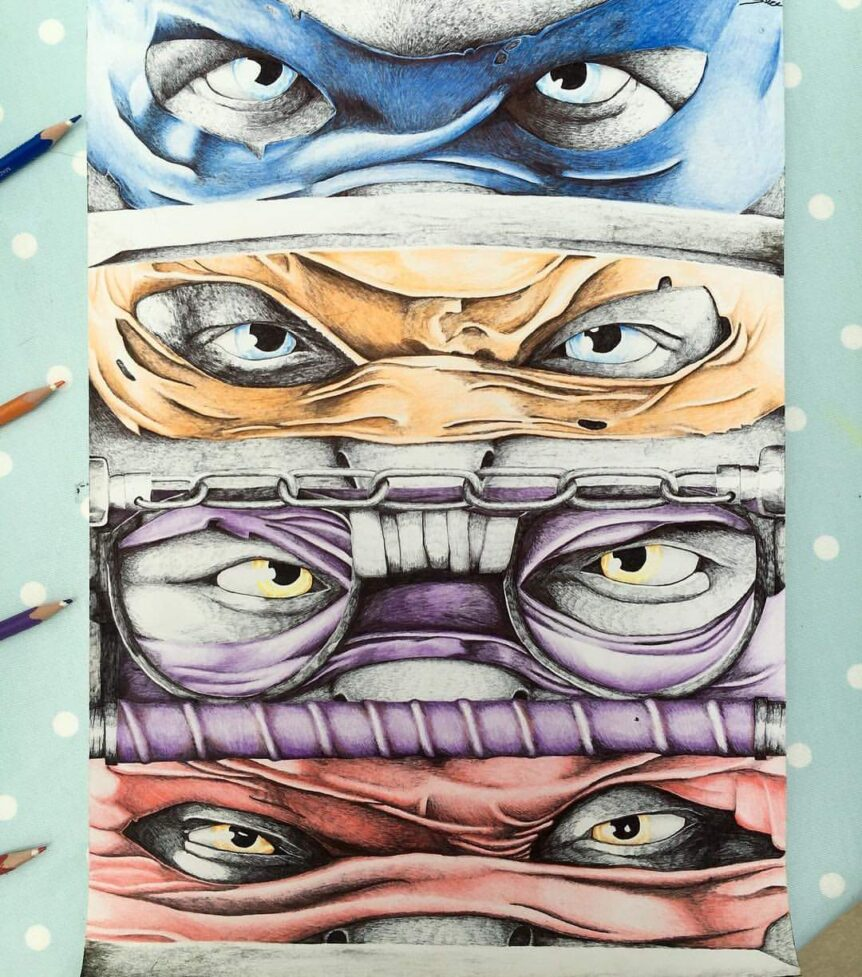 Ninja Turtles pencil crayon art